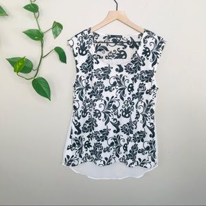 Maurices black and white floral tank top size L